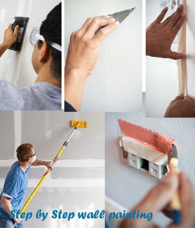 Step by Step Wall Painting--Sand, Putty, Resand, Tape Edges, Paint with primer then color, fine paint with brush