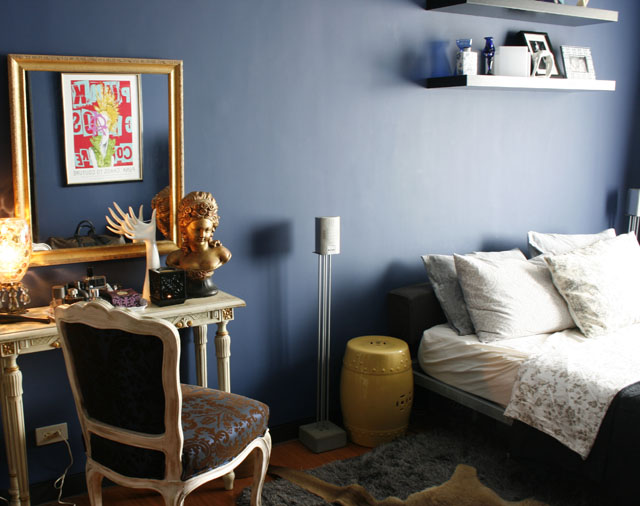 Fabulous finds from Kamuning and Evangelista thrift shops complete his bedroom.