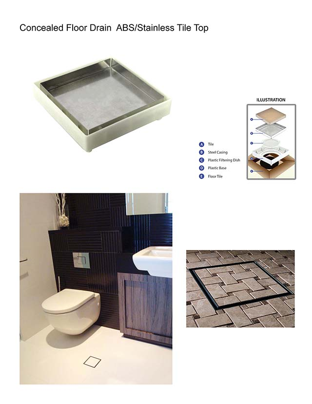 Concealed Floor Drain ABS Stainless Tile Top(1)