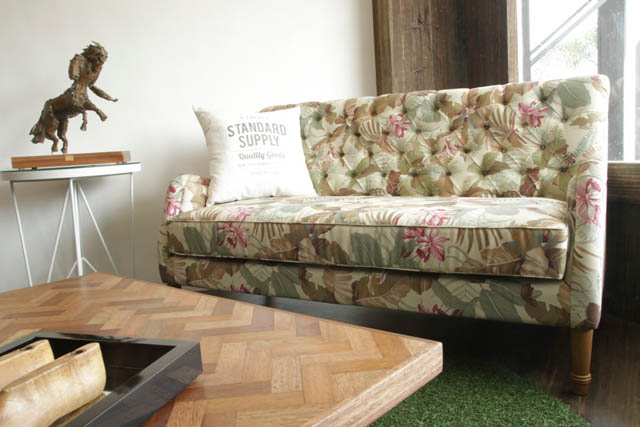 vintage inspired living room with Clarisse sofa & Sabine side table