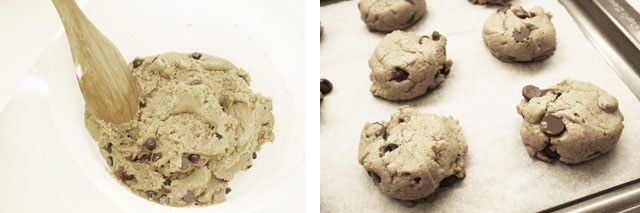 Scoop dough into cookie sheets.