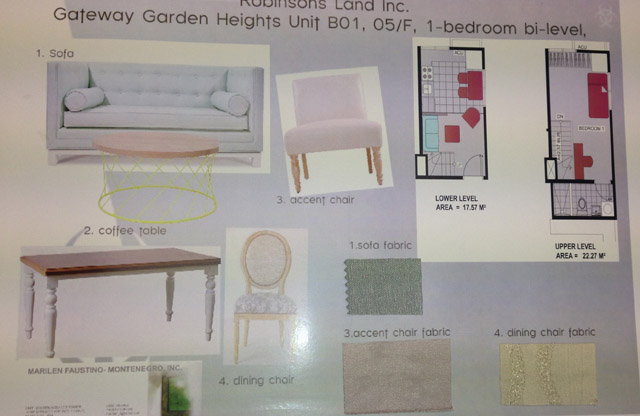 The ground floor concept board.
