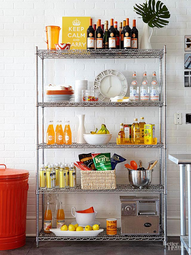 This stainless rack from Bhg.com  is styled with livelier happy colors.