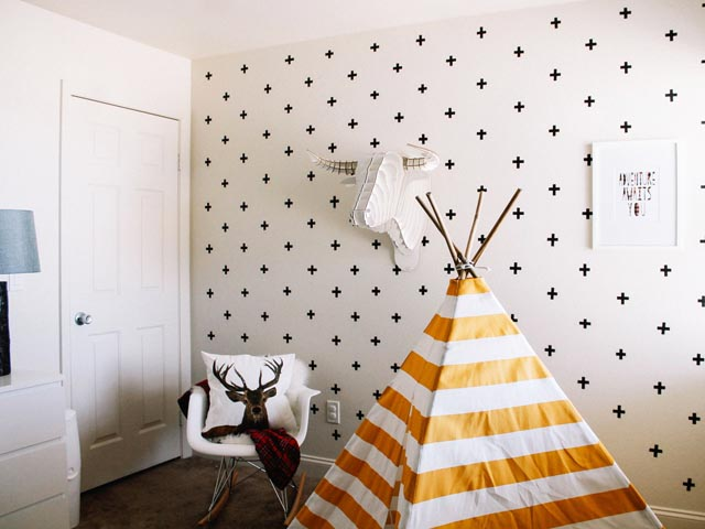 Washi tape on a bare wall for a nice Scandinavian accent from HGTV.com