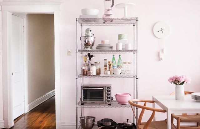 Simple stainless racks styled with a certain color theme like this pastel ensemble from theeverygirl.com is so pretty!